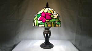 Vintage-Tiffany-Style-Slag-Floral-Stained-Glass-Shade-Detailed-Metal-Base-Lamp