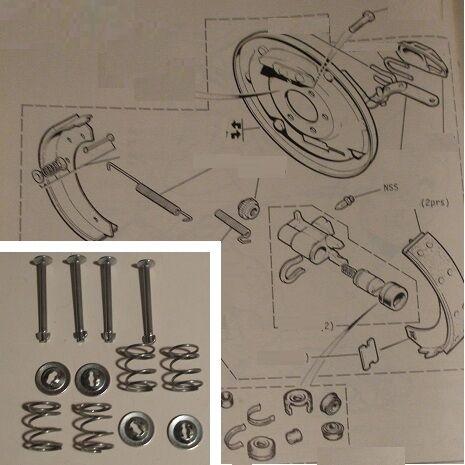 1969-75 FORD Capri Mk1 Mk2 9 inch BRAKE SHOES SHOE FITTING KIT Axle Set