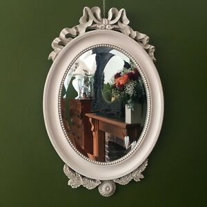 Large French Shabby Chic Ivory Paris Oval Wall Mirror