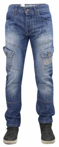 Mens Crosshatch Jeans Sandblast Regular Fit Cargo Pockets Denim Pants Trousers