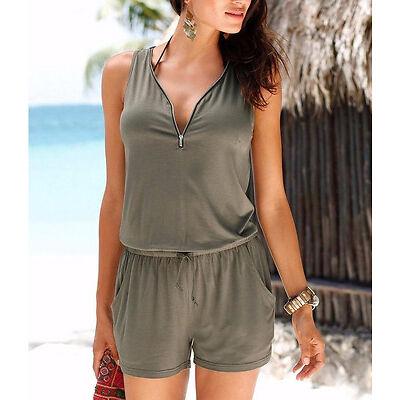 femme vacances mini combi-short combinaison été robe de plage Court pantalon