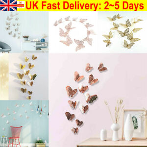 12Pcs Hollow Butterfly 3D Wall Stickers Decor Wall Art Home Room Decorations UK