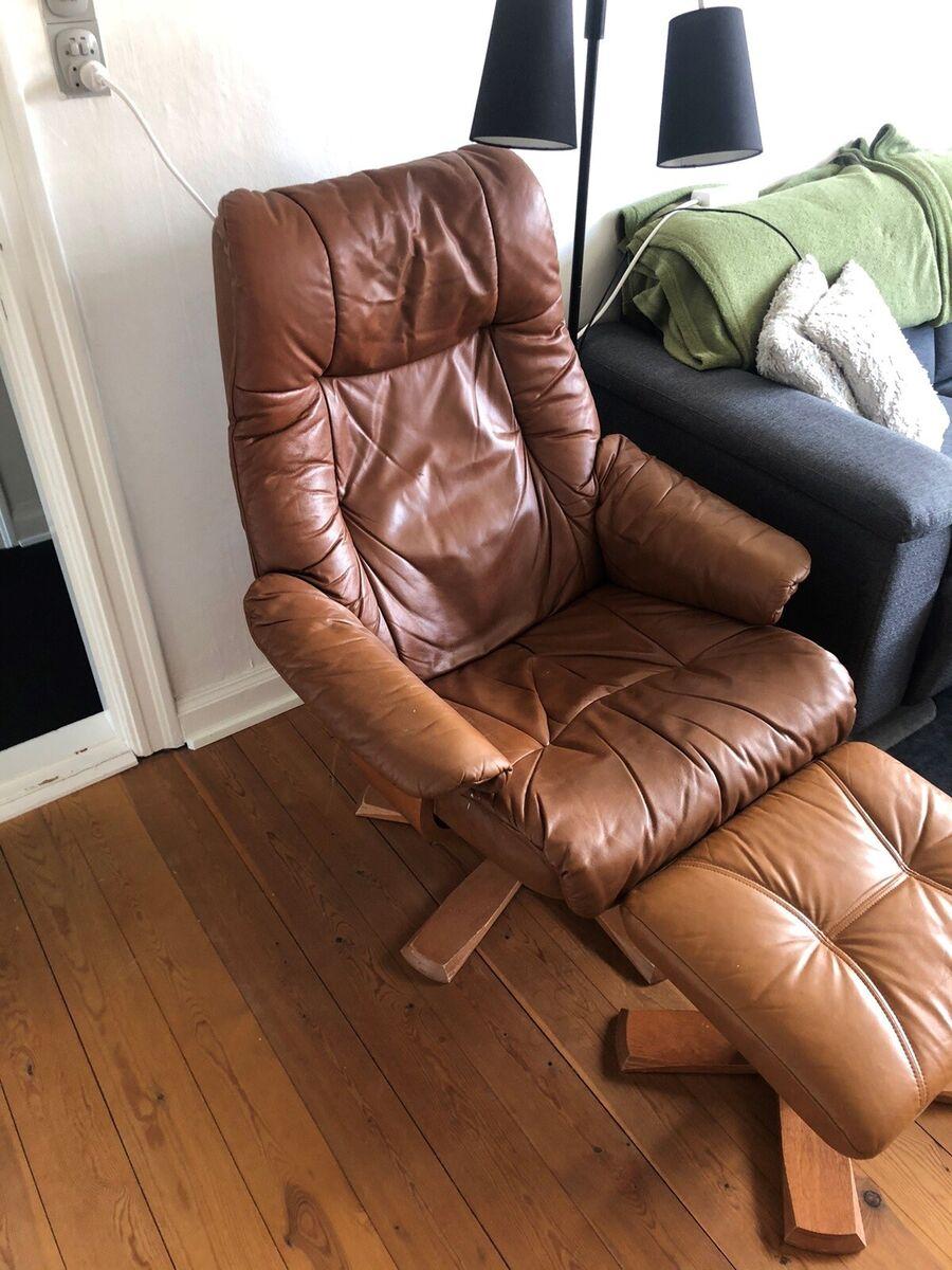 Læderlænestol, læder, Lækker lænestol sælges. 200 kr. har
