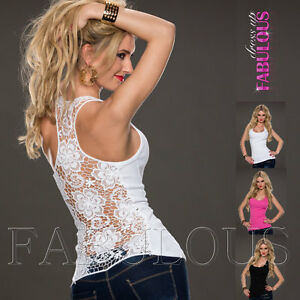 Sexy-European-Crochet-Lace-Top-Size-6-8-10-Casual-Clubbing-Singlet-Shirt-XS-S-M