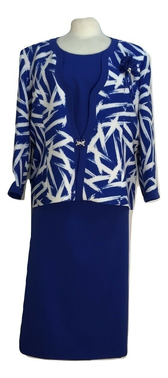 Mother Of The Bride Royal Blue 3 Piece Suit Wedding Church Party Big size