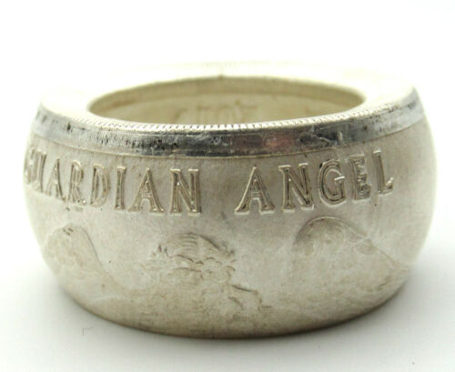 Pure Silver Guardian Angel coin ring  great for good luck
