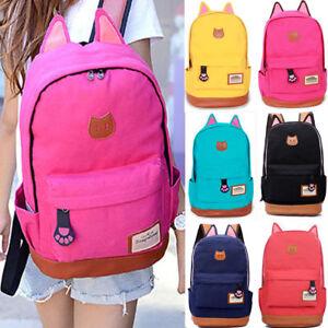 0b33d155aa85 Womens Girls Cat Ear Canvas School Backpack Satchel Book Bags Travel ...