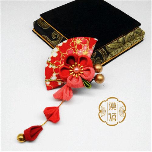 Fan Hairpin Hair Clip Tsumami zaiku Tassels for Kimono Yukata Hanfu Handwork Mo