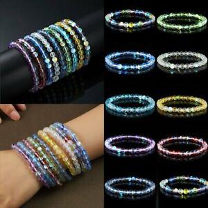 Fashion-6mm-Beaded-Mystic-Aura-Quartz-Gemstone-Holographic-Matte-Bracelet-Bangle
