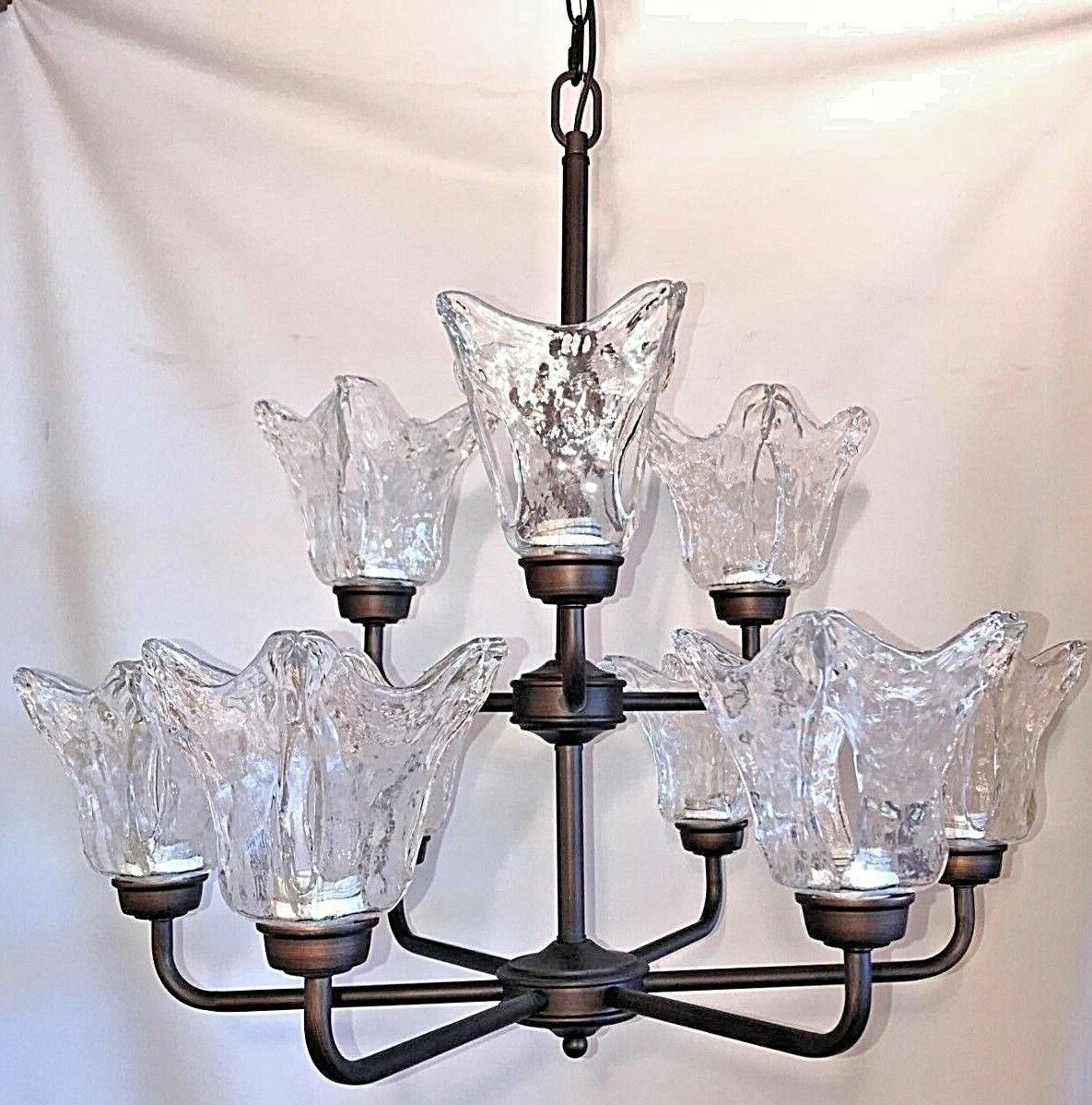 9 light chandelier rubbed bronze with clear hand blown glass