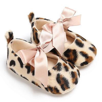 Newborn Baby Kids Girl Leopard Anti-slip Sneakers Prewalker Soft Crib Sole Shoes