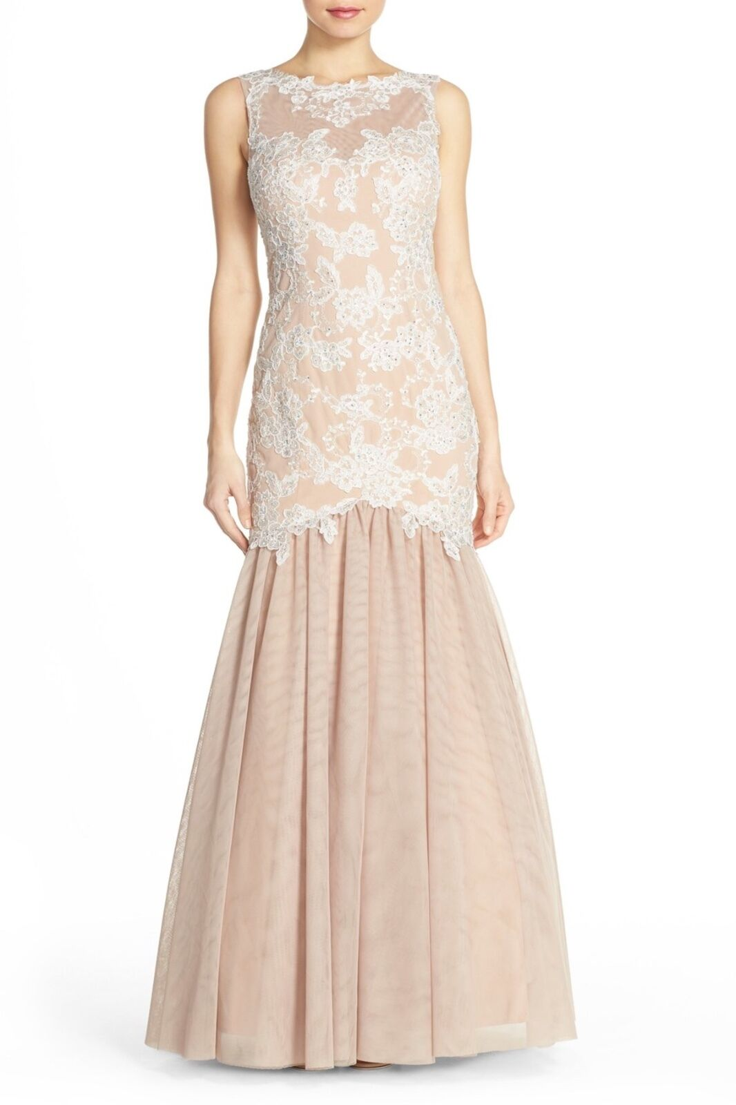 XSCAPE EMBELISSED MIXED MEDIA MERMAID IVORY  NUDE GOWN DRESS S16