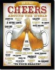 How To Toast CHEERS Around The World Beer Glasses Mugs Tin Metal Bar Sign
