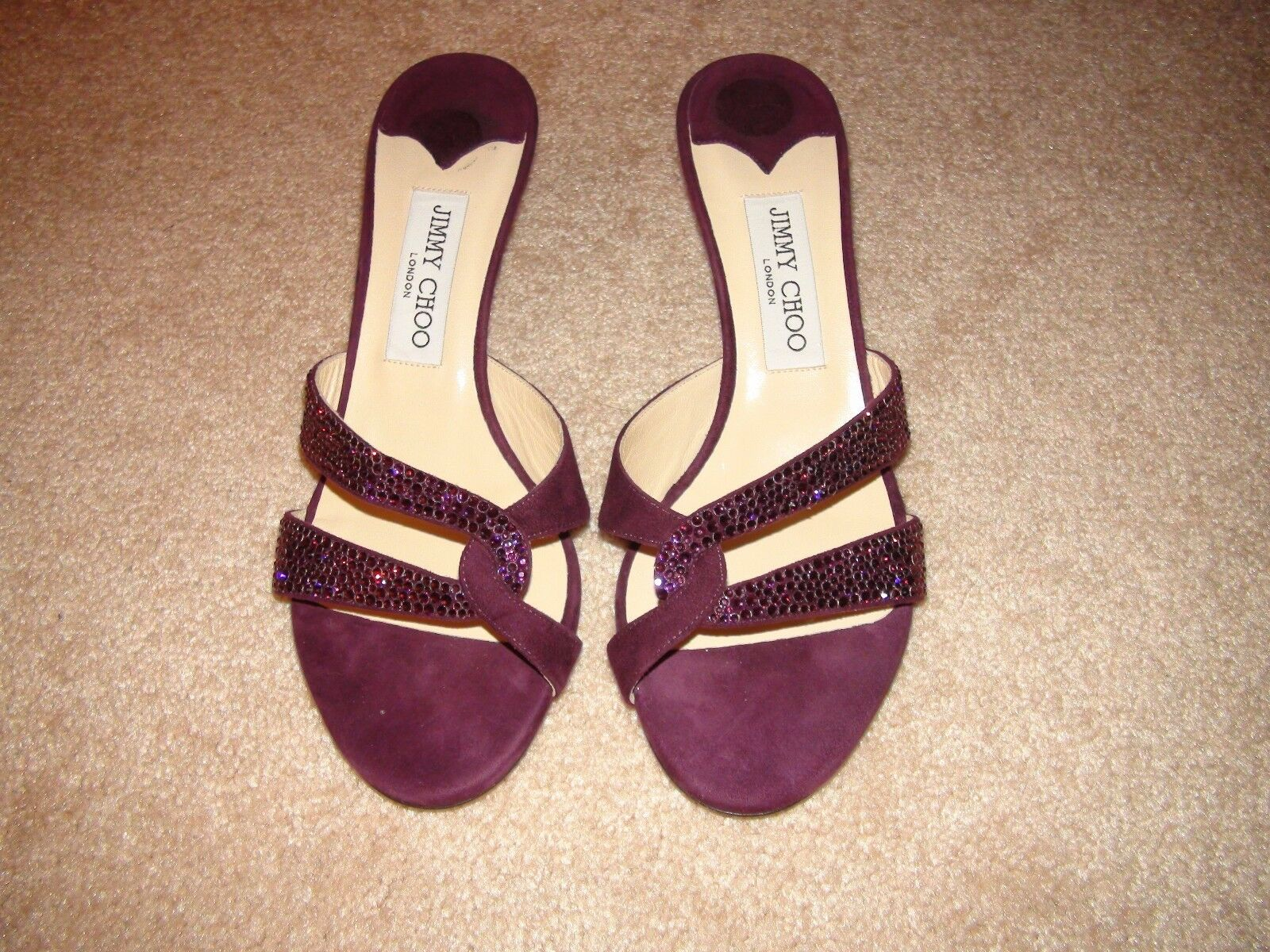 Jimmy Choo Purple Suede Crystal Coated Embellished Slip On Sandals Slides 8 38