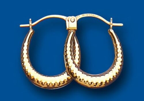 Gold Hoop Earrings Patterned Creole Earrings Yellow Gold Hoops