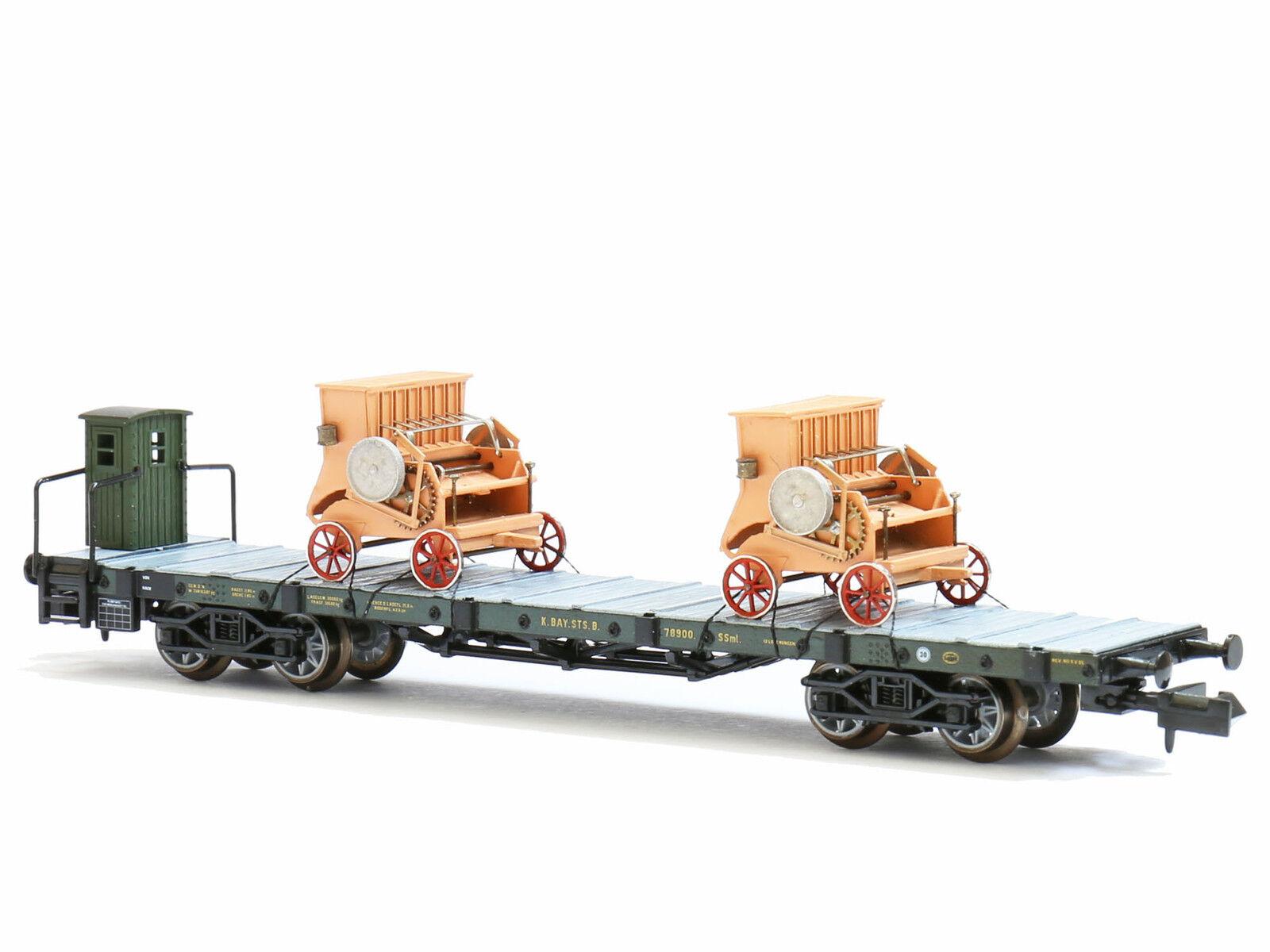 Marks 440600 - 2 Straw presses on Bavarian Freight Wagon Flat Wagon Ep. I-NEW