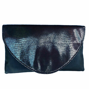 Black Iridescent Snakeskin Effect Evening Clutch Bag With
