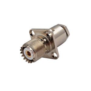 UHF-SO-239-Female-4-Hole-Flange-Mount-Clamp-RG58-LMR-195-RG142-Connector