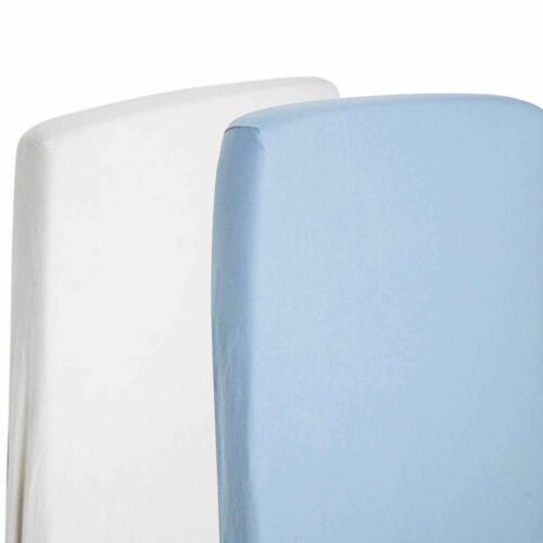 2x Cot Bed 100% Premium Cotton Jersey Fitted Sheet 140cm x 70cm White & Blue
