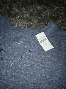 Girls-justice-lace-up-ruffled-long-sleeve-top-size-14-new-heathered-navy