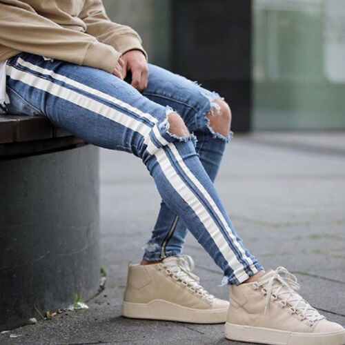 Mens Slim Fit Ripped Jeans Ankle Zipper Blue Denim Pants Skinny Striped Trousers