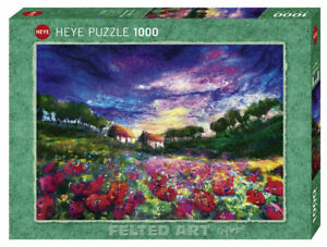 Heye Puzzles - 1000 Piece Jigsaw Sundown Poppies (Felted Art) HY29917