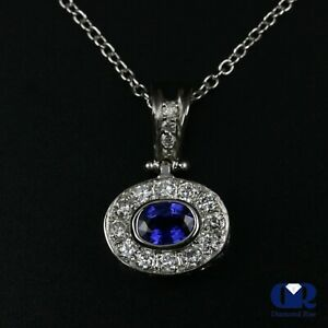 1-12-Ct-Oval-Sapphire-amp-Diamond-Pendant-Necklace-14K-White-Gold-With-16-034-Chain