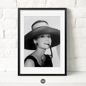 toile tableaux Audrey Hepburn noir blanc Photo Vintage   40x50 cm