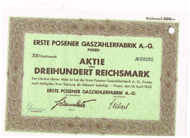 Erste Posener Gaszählerfabrik AG, Posen 1943, 300 RM