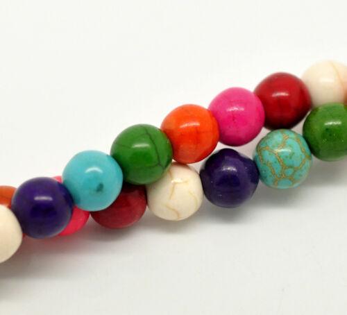 New 2Strange Mix Türkis Howlith Rund Perlen Beads 8mm