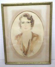 VTG ANTIQUE WATERCOLOR PAINTING FLAPPER WOMAN PORTRAIT CLOE BY BILLY WOOD 1931