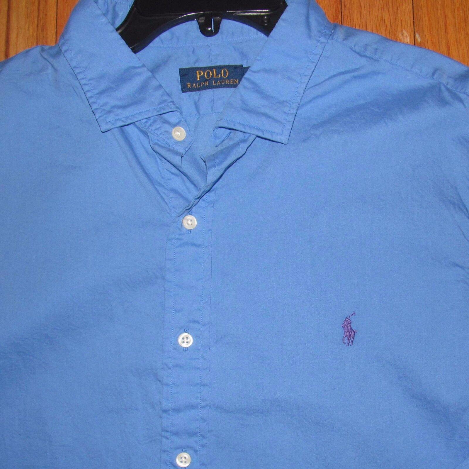 Ralph Lauren Mens LS Solid Medium bluee Classic Fit Shirt XXL NWT