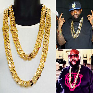 21 mm 30 inch  14K Gold Finish Miami Curb Cuban Heavy Men/'s Chain Thick Necklace