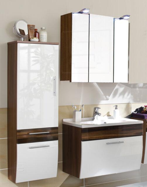 Badezimmer Badmöbel Spiegelschrank Waschbeckenunterschrank Hochglanz Set 3 tlg.