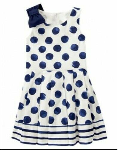 NWT Gymboree Seaside Stroll Blue Navy Bow and Polka Dots Dress Size 5 8 10