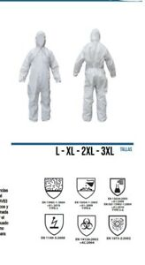 Protective Suit Coveralls Medium and Large Sizes Type 5 and 6
