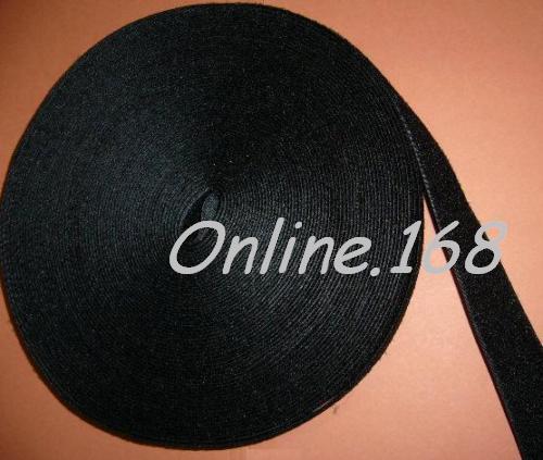 Self Adhesive hook & loop Tape Sticky Hook and Loop fastener 25mm x 10m BLACK