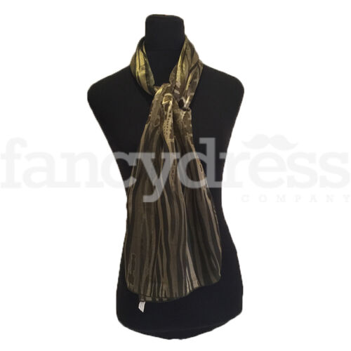 Sheer Stripe Olive Patterned Scarf Silky Shawl Wrap Headscarf NEW