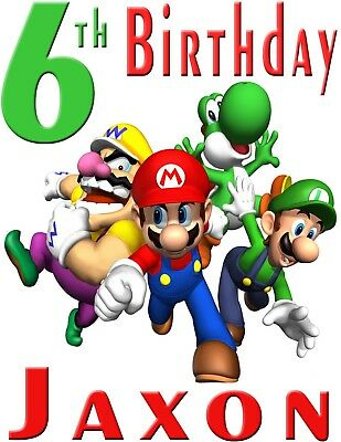 Super Mario Bros Personalized Name /& Age Custom T Shirt Party Favor Birthday Tee
