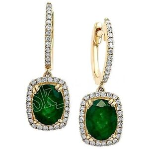 1-60ct-ROUND-DIAMOND-EMERALD-14k-YELLOW-GOLD-WEDDING-ANNIVERSARY-HOOPS-EARRING