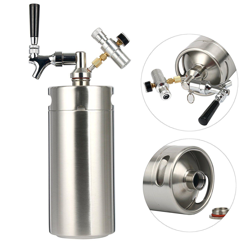 s l1600 Stainless Steel Homebrew Mini Keg Spear Beer Growler With Co2 Regulator 128Oz