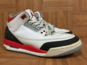 09ba5d06abef71 RARE🔥 Nike Air Jordan 3 III Retro Fire Red White Cement Size 6.5Y ...