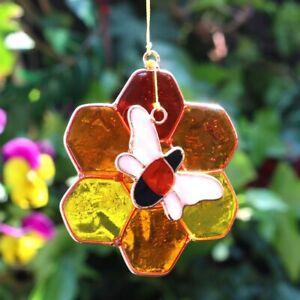 Adroit Vitraux Bourdon Sun Catcher Hanging Décoration De Fenêtre En Nid D'abeille En Cuivre-afficher Le Titre D'origine