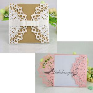 Ribbon Lotus Flower Party Wedding Invitations Invite Card Laser Cut