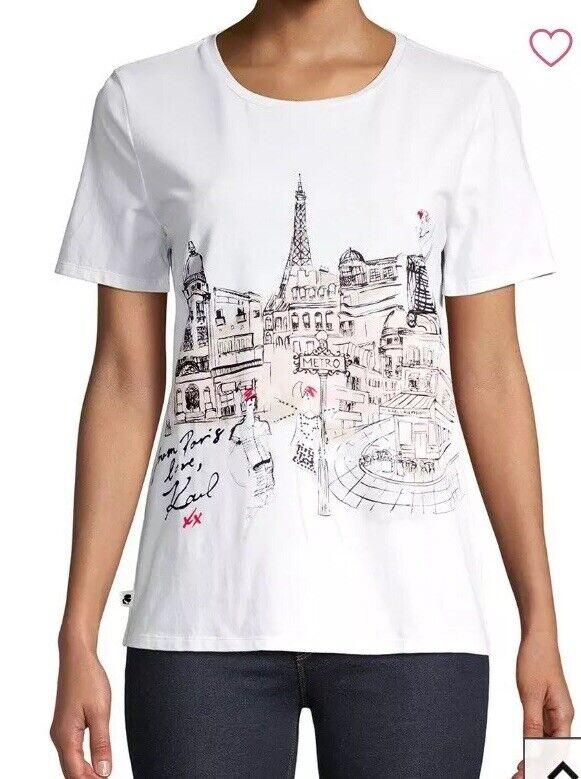 NEW NWT Karl Lagerfeld Weiß Fashion Sketch Paris Eiffel Cotton T-Shirt Top XL