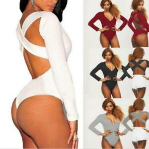 Ladies-Long-Sleeve-Stretch-Bodysuit-Backless-Bandage-Leotard-Top-Jumpsuit-Romper