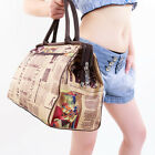 Trendy Newspaper Print Travel Handbag Duffle Gym Tote Luggage Shopping Bag 1#