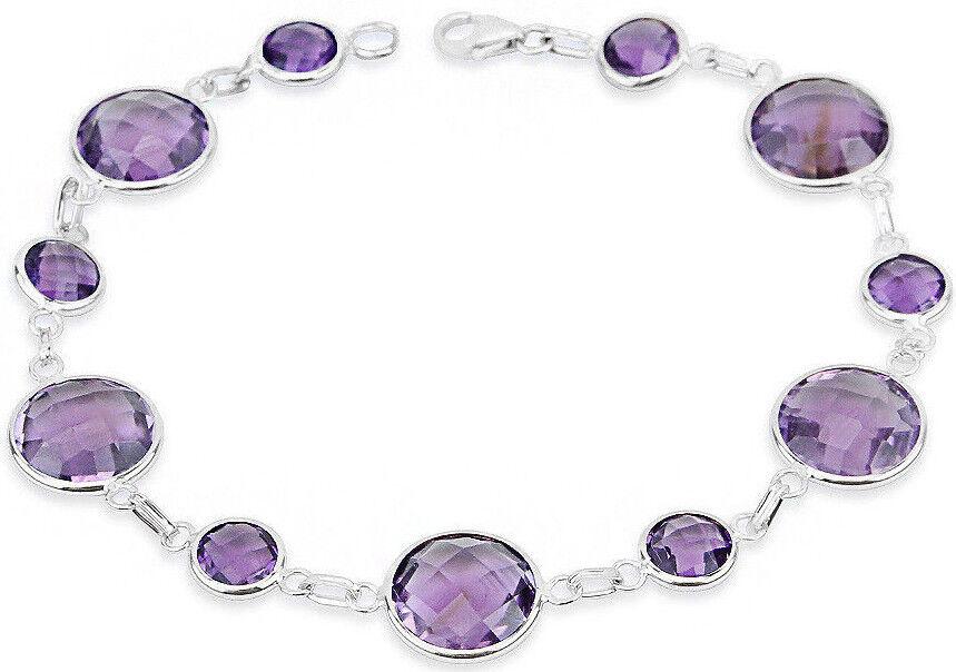 14K White gold Bracelet with Round Shape Amethyst Gemstones 8 Inches
