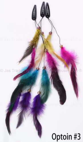 Hippie Color 1970s 70s 80s Party Gypsy Bohemian Feather Head Hair Clip Extension