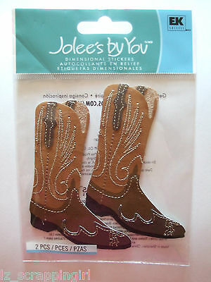 ~MEN'S BROWN COWBOY BOOTS~ Jolee's Boutique Dimensional Stickers WESTERN RODEO